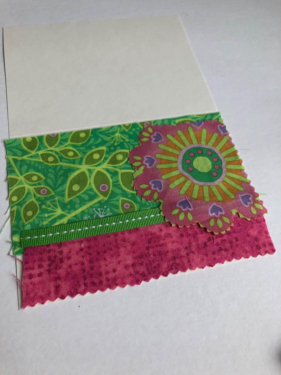 fussy-cut flower fabric glued on card