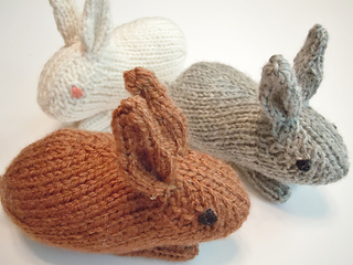 hand knit bunny trio