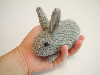 palm-sized hand knit gray bunny