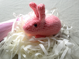 hand knit pink bunny