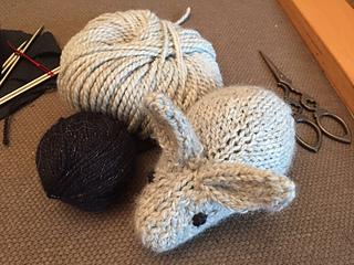 hand knit natural bunny