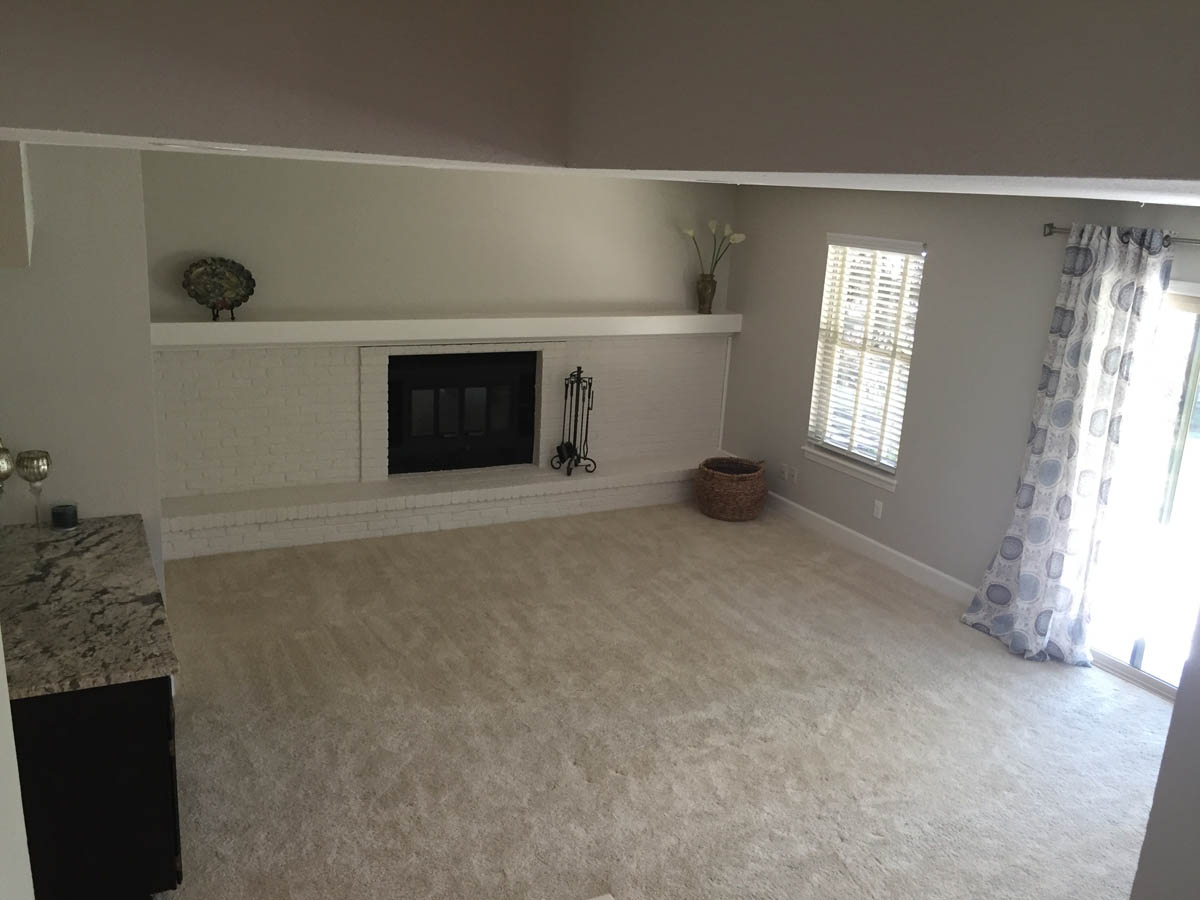 family room remodeled with carpet