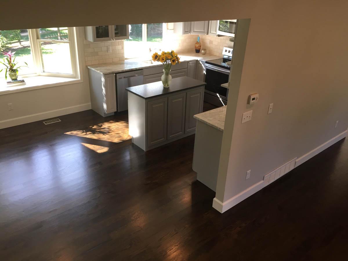 living room looking towards kitchen remodel