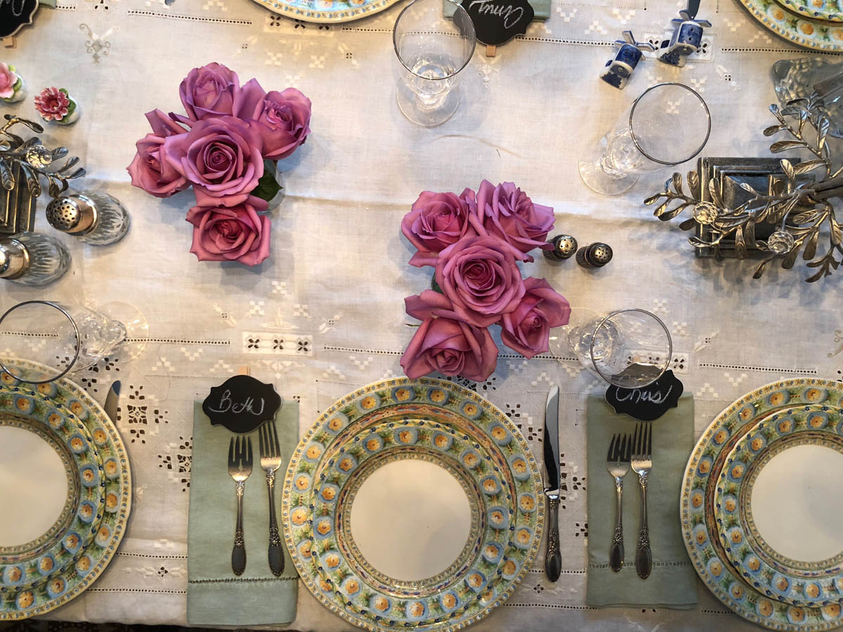Overhead shot of china and table settings