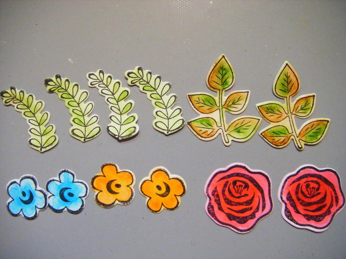 Colored die-cut flowers