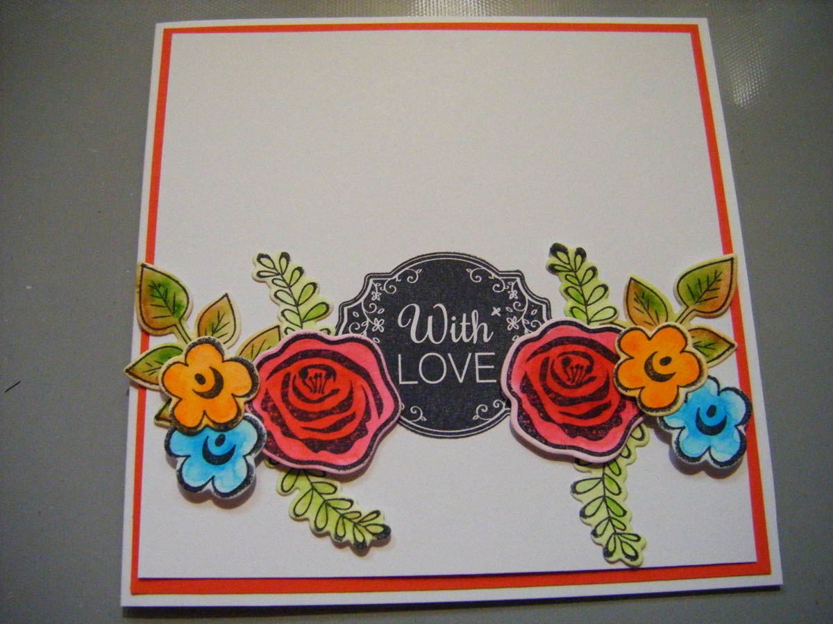 The paper craft hand made card is almost finished but for a final detail