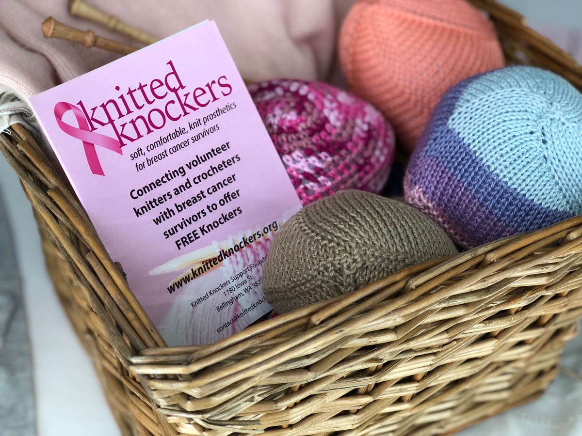 Basket of finished Knitted Knockers