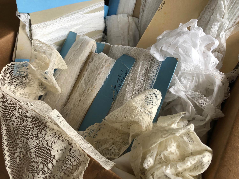 assortment of vintage laces