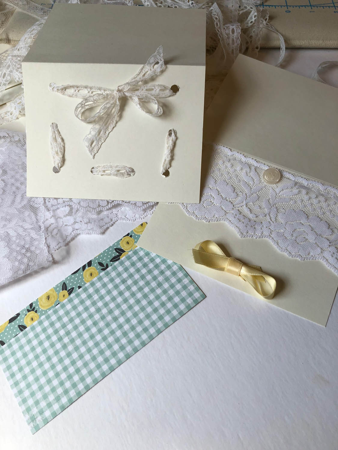 hand made vintage lace and fabric cards