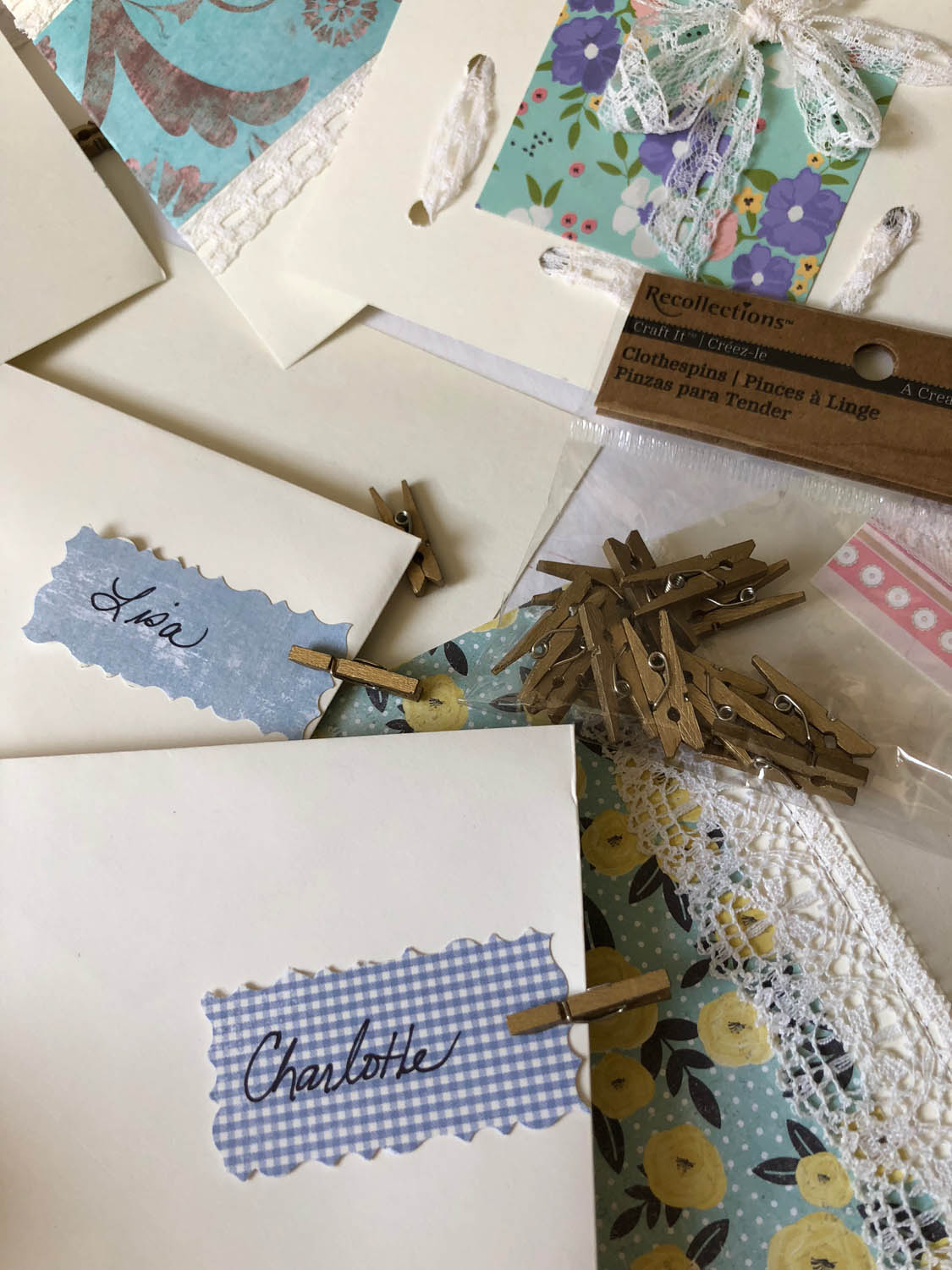 mini clothespins to label cards or use as place markers