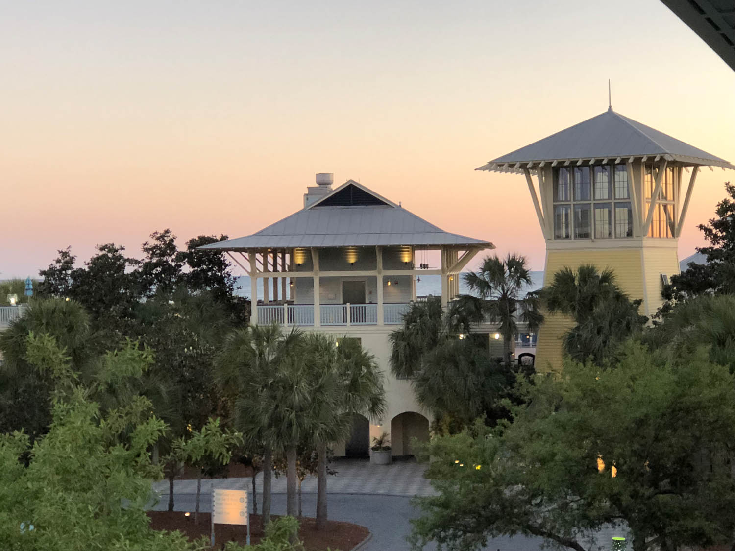 sunset view from condo in Watercolor, Florida