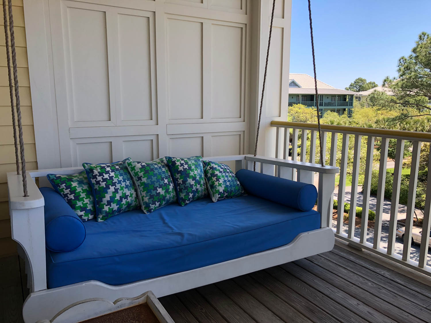 porch swing on deck in Watercolor, Florida