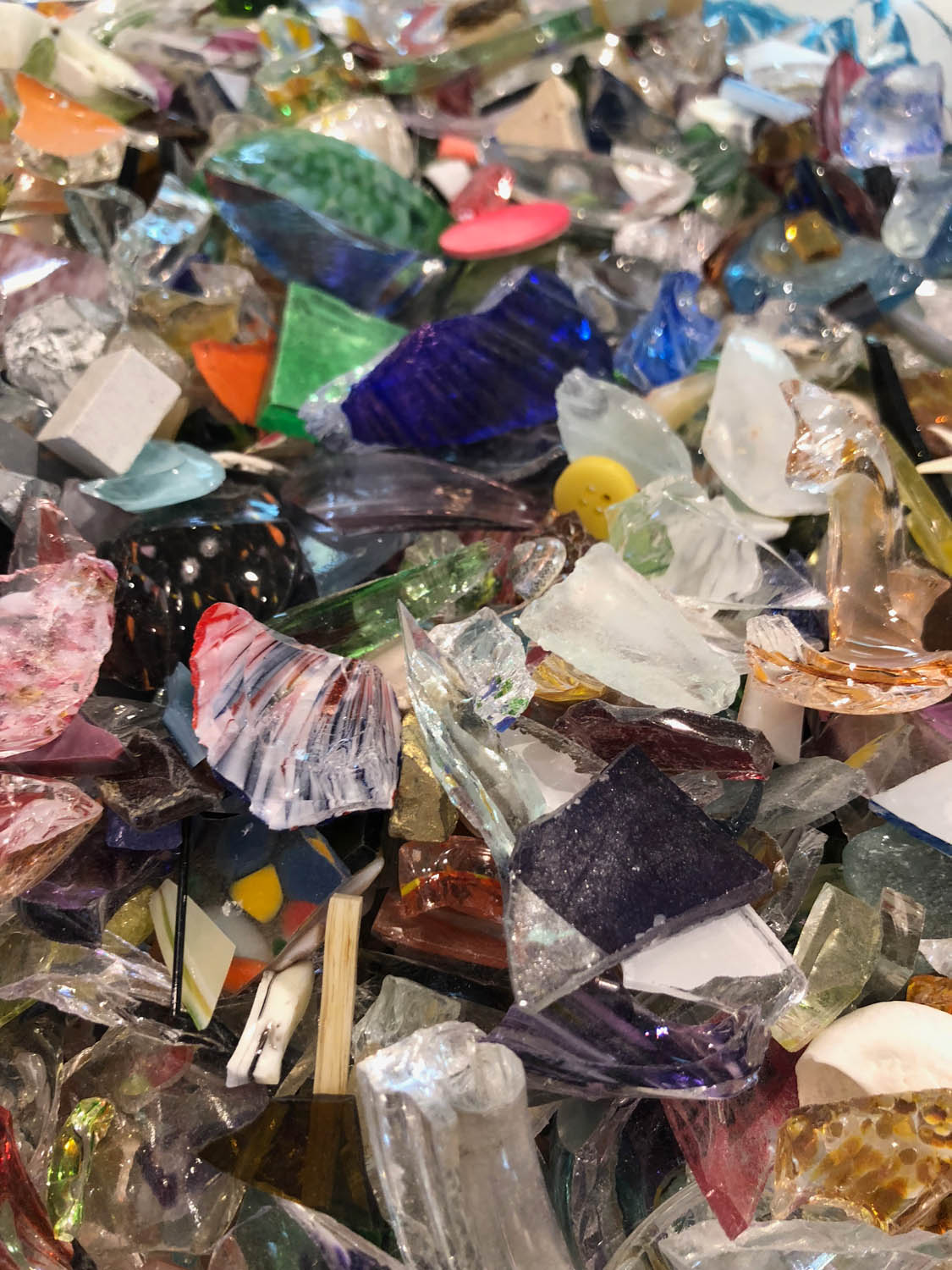 Colorful glass shards for making 3D artwork
