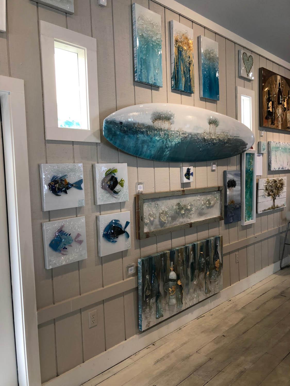 Interior of artwork at Mary Hong's Grayton Beach, Florida studio