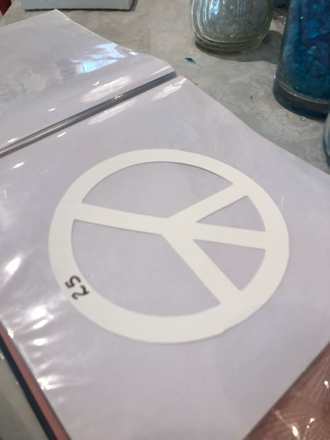 Template for peace symbol at The Shard Shop class