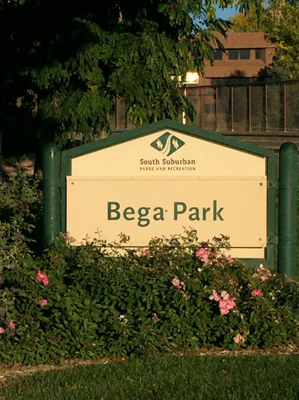 Bega Park sign in old downtown Littleton, Colorado