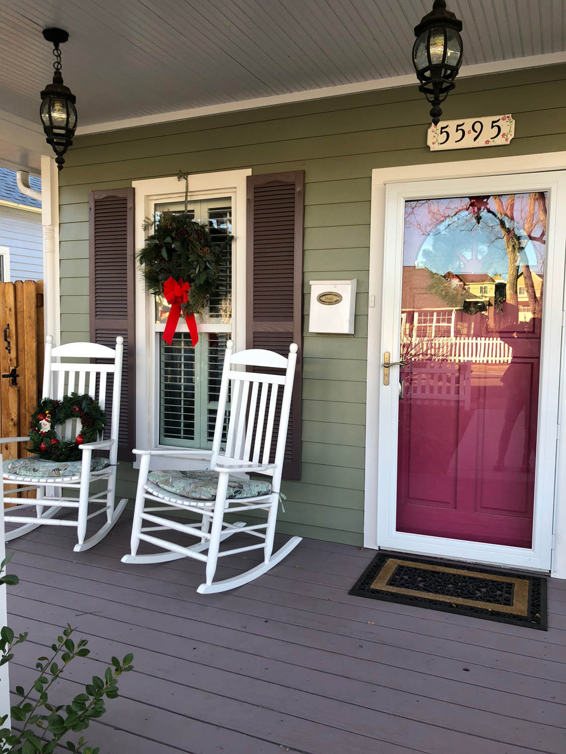 Ashley's front porch with Christmas wreath