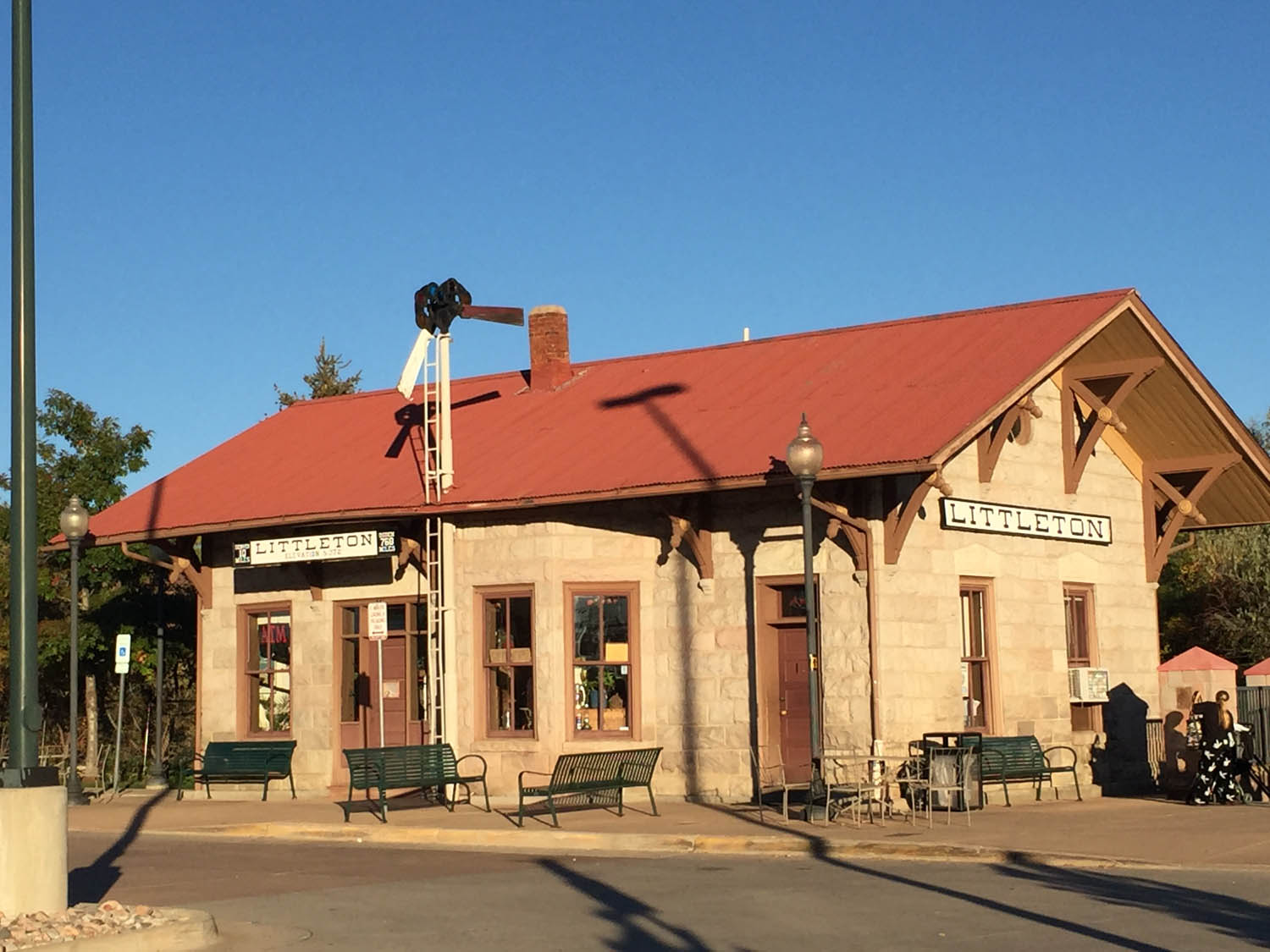 Old train station, now a light rail station, in historic old downtown Littleton, CO