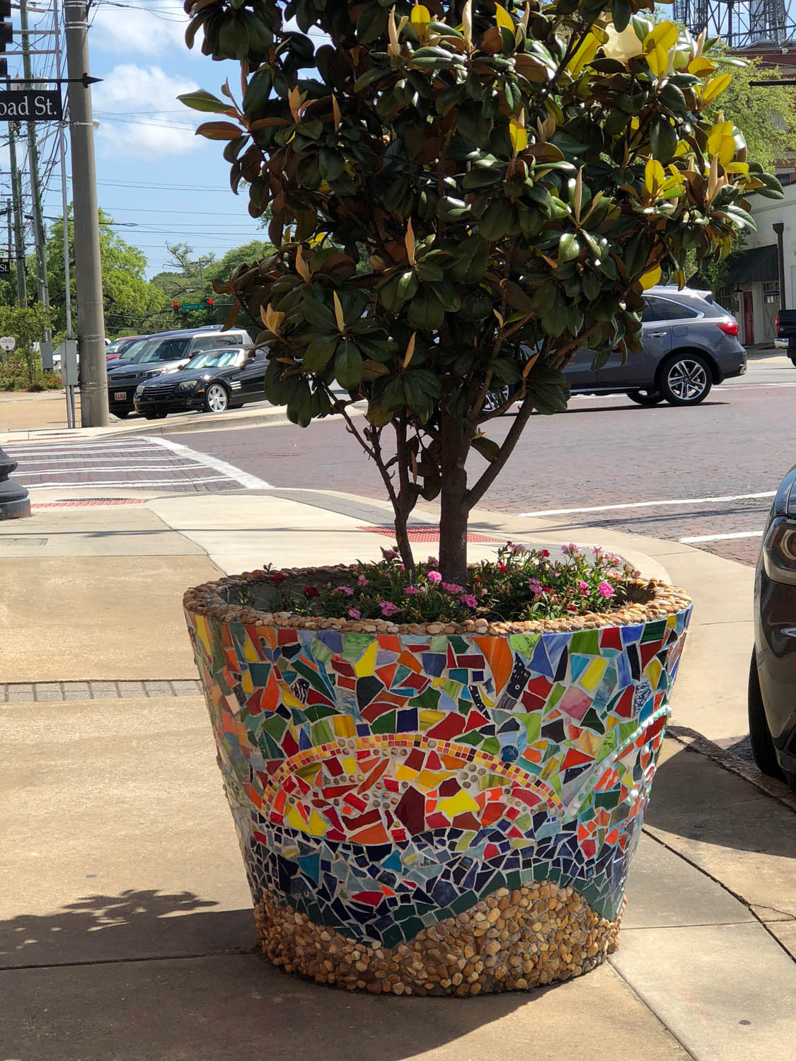Tile mosaic pot on the street in downtown Thomasville, Georgia