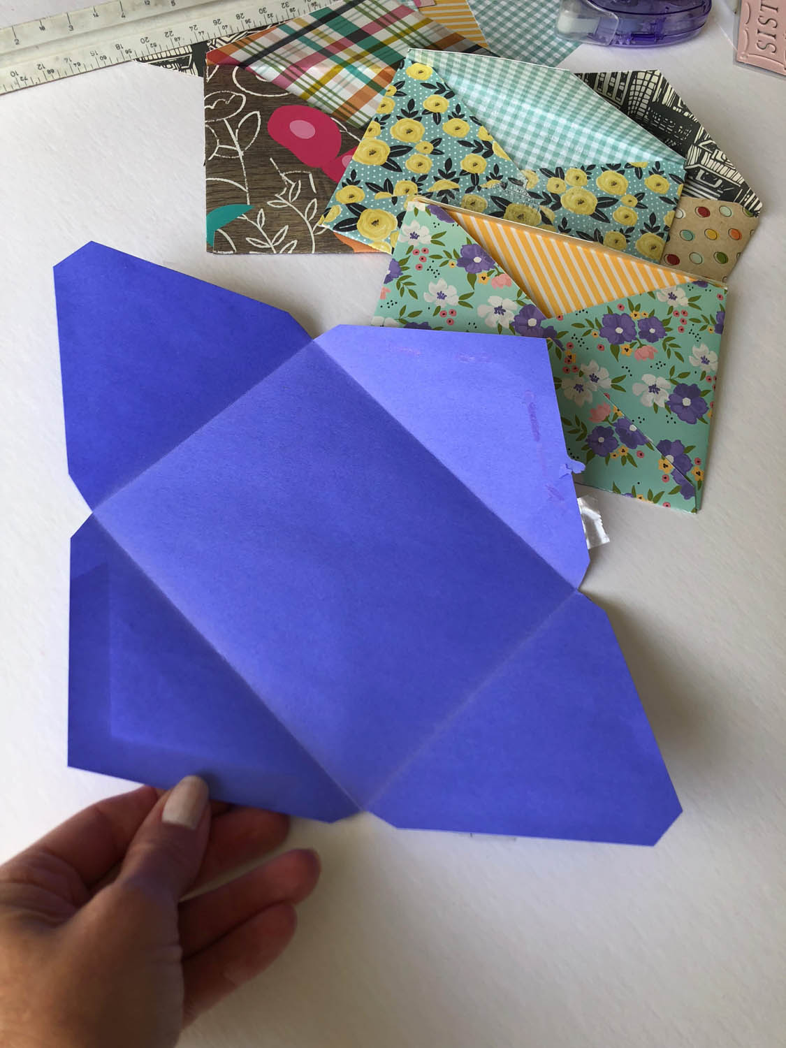 opened envelope template for diy envelopes with scrapbook paper