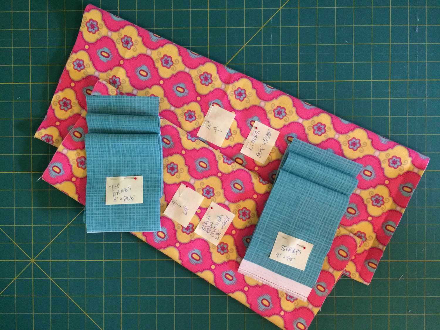 green market free tote pattern cut fabrics with labels