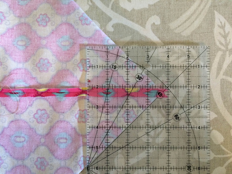 measuring for box corners on tote bag bottom