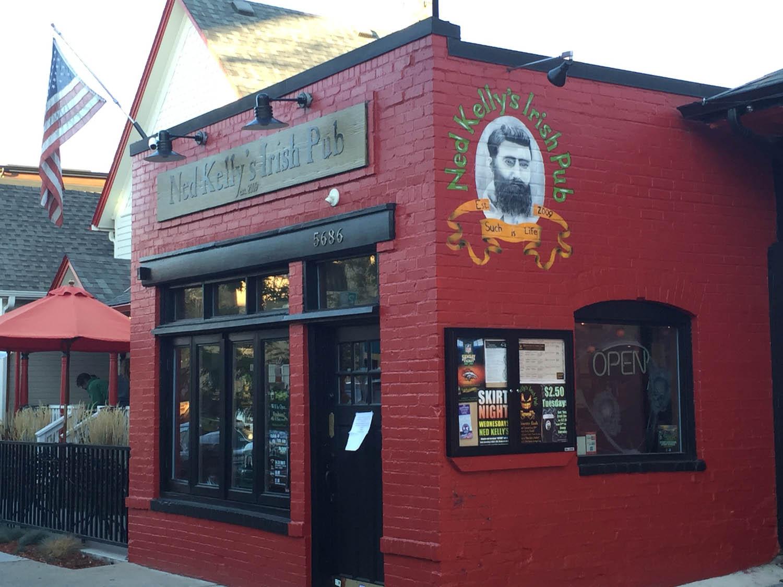 Ned Kellys Pub landmark in downtown Littleton, Colorado