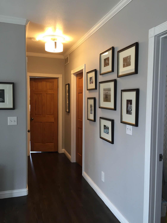 hallway view before painting wood doors white
