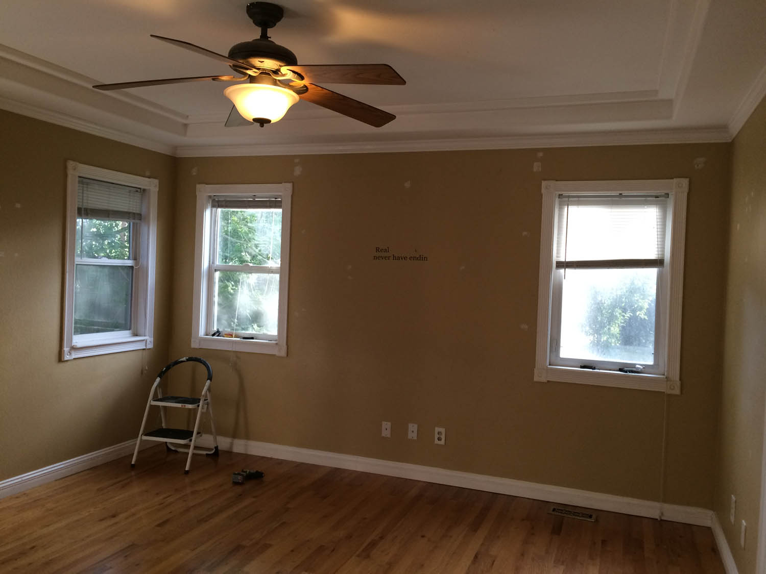 Master bedroom walls before painting.