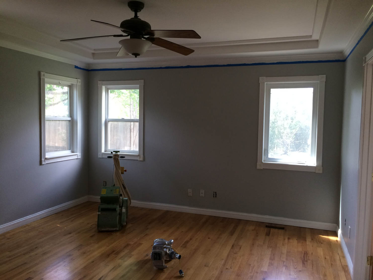 Master bedroom walls during painting.