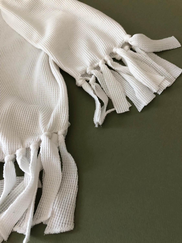 Finished fringed long sleeve waffle-knit shirt
