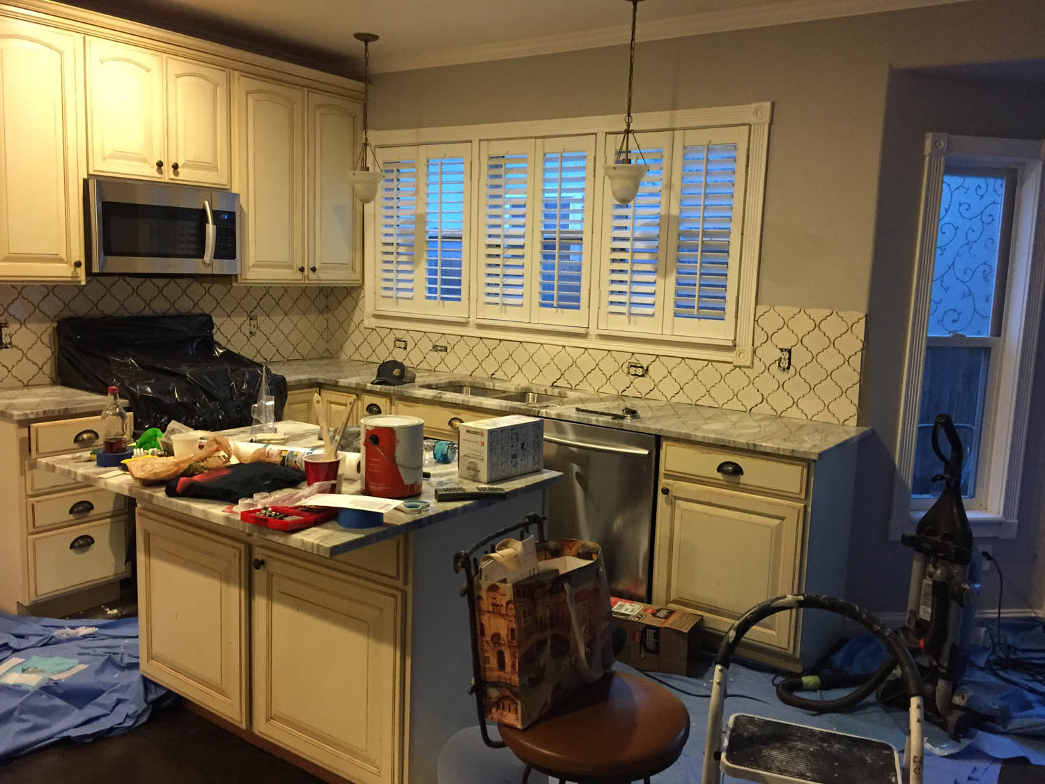 Curtice Cottage kitchen during remodel.