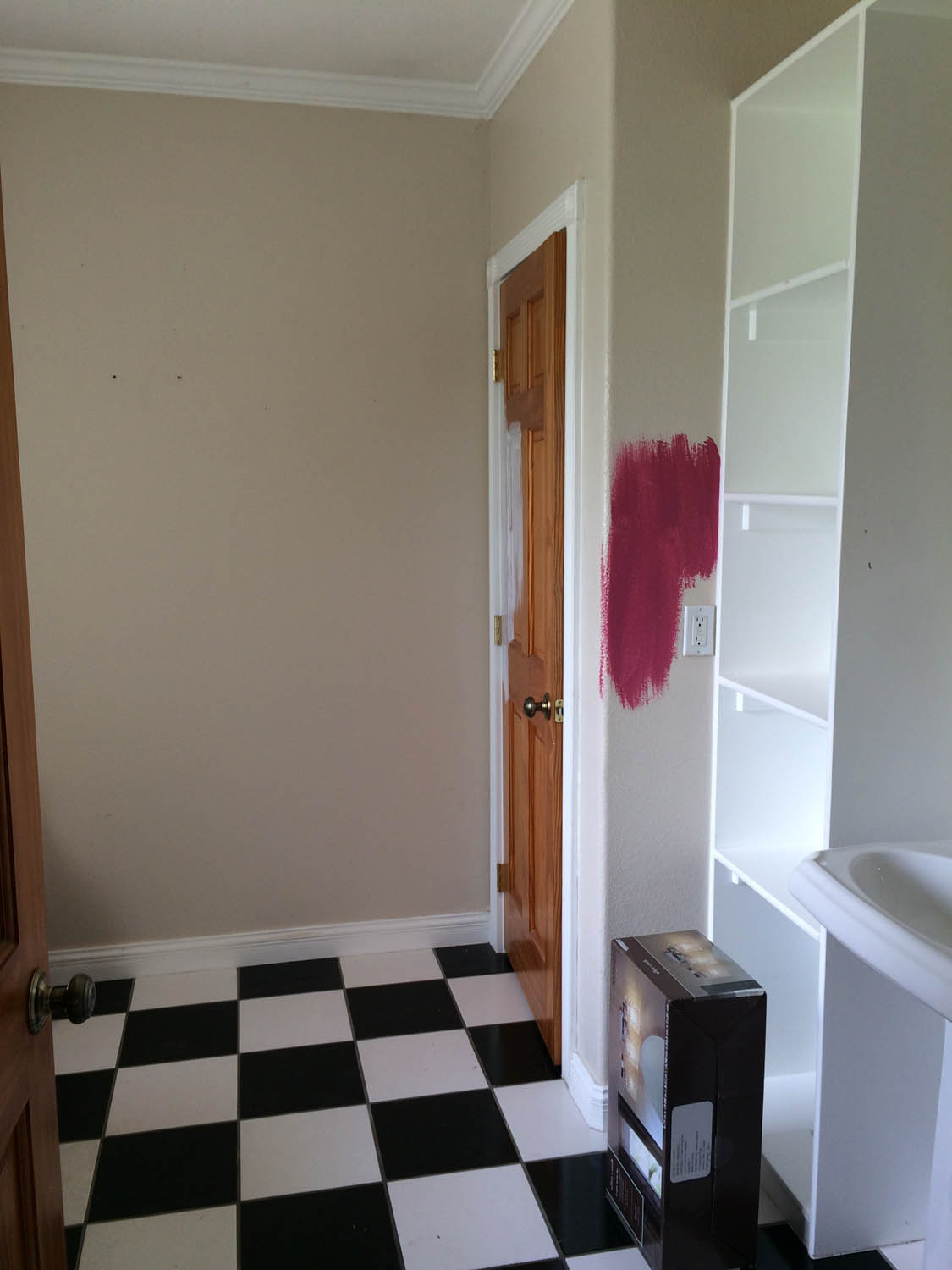 Curtice Cottage master bathroom before wallpaper and trying to decide on paint color.