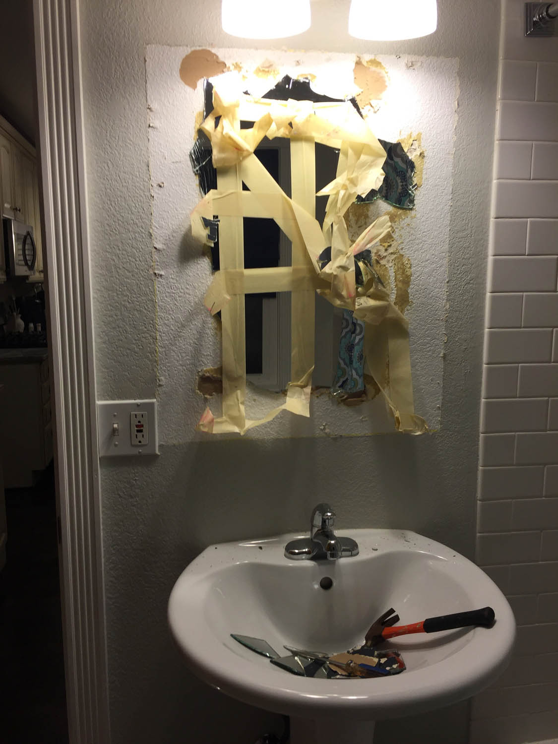 Removing old mirror that was heavily glued on the back