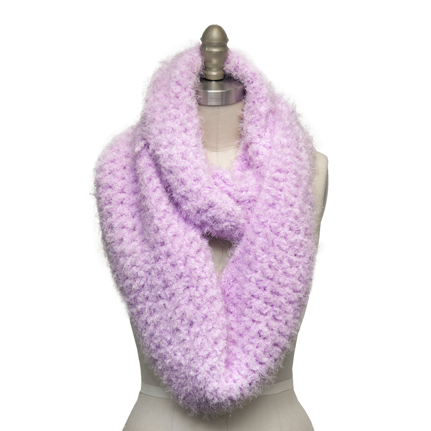 Finished crocheted infinity scarf in pink Boa