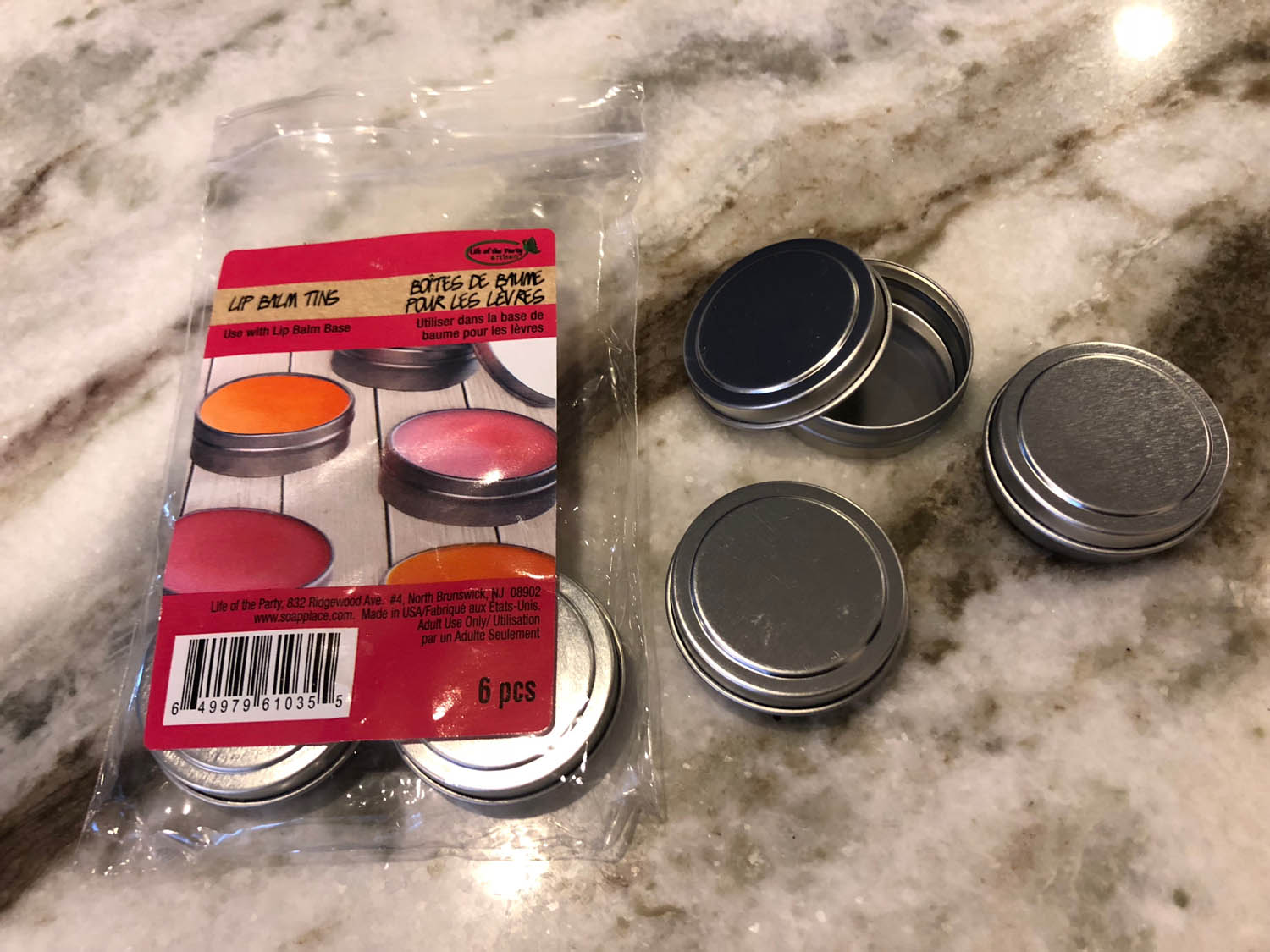 Tins for homemade lip balm from Life of the Party