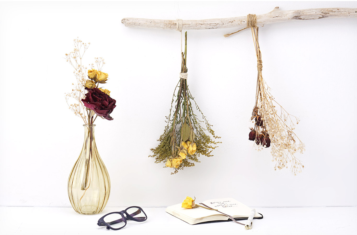Dried flower bundles displayed in a vase and hanging from a stick hung on the wall.