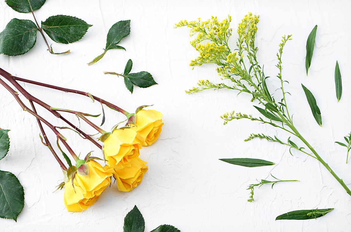 Bundles of fresh flowers with leaves removed.