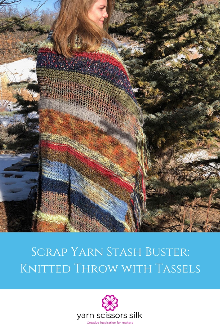 Scrap Yarn Stash Buster Free Knitted Throw Pattern with Tassels