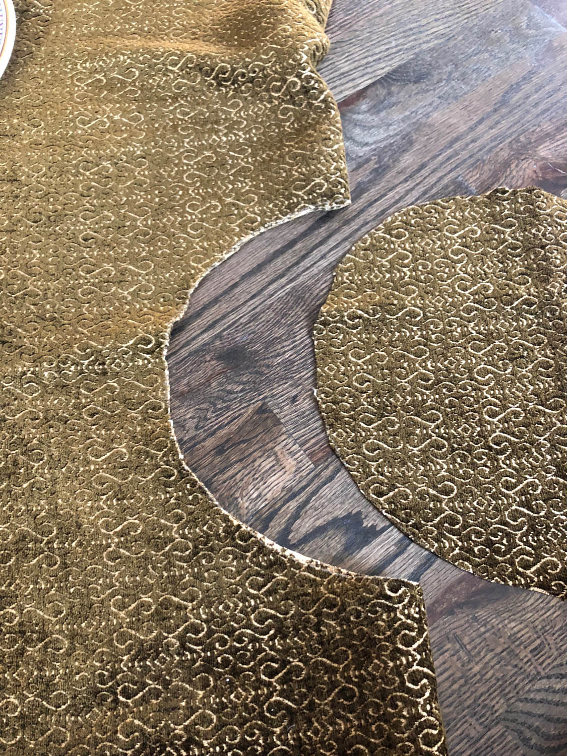 cutting center circle out of reversible upholstery fabric
