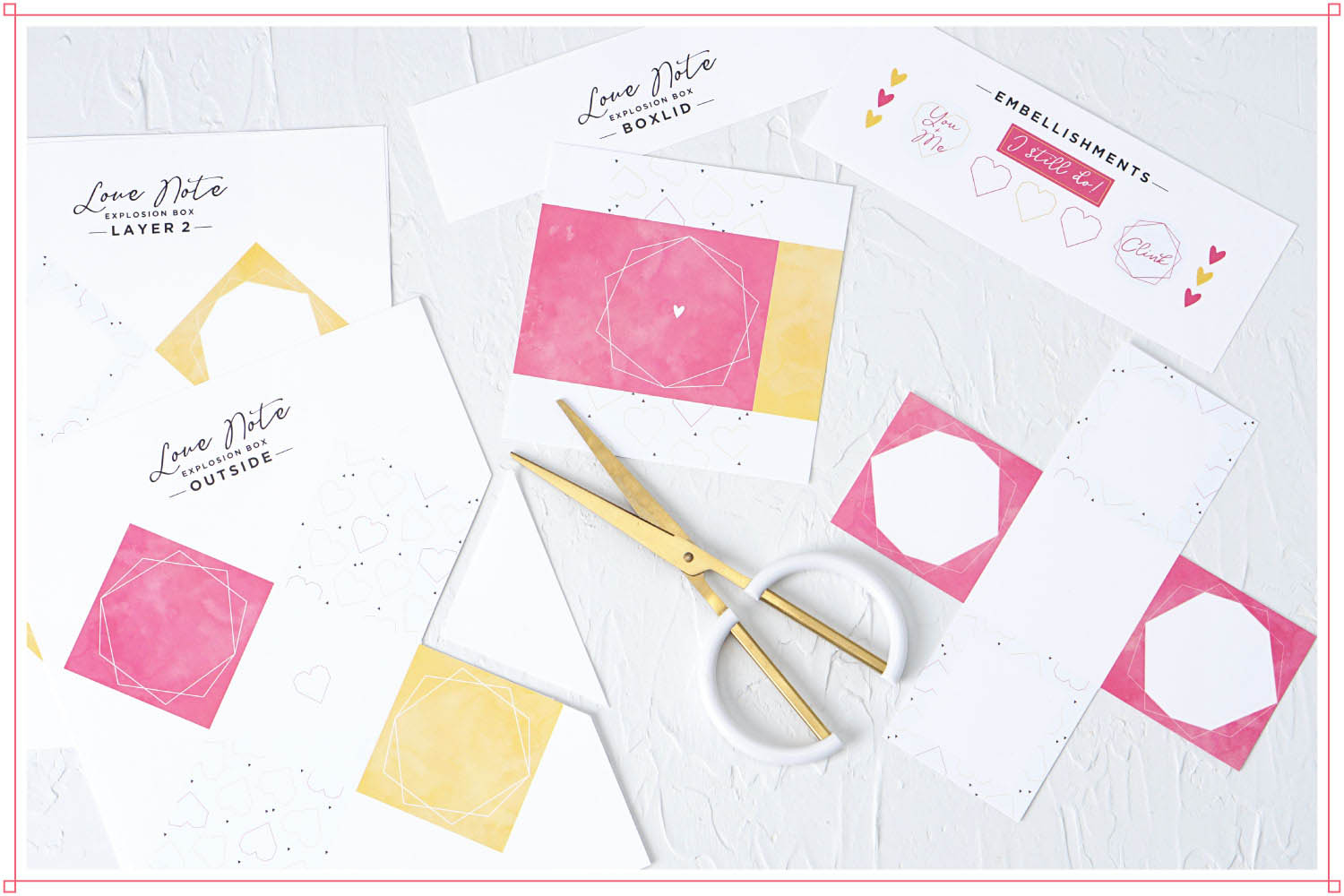 Cutting out free printed 3d Love Note explosion box using scissors