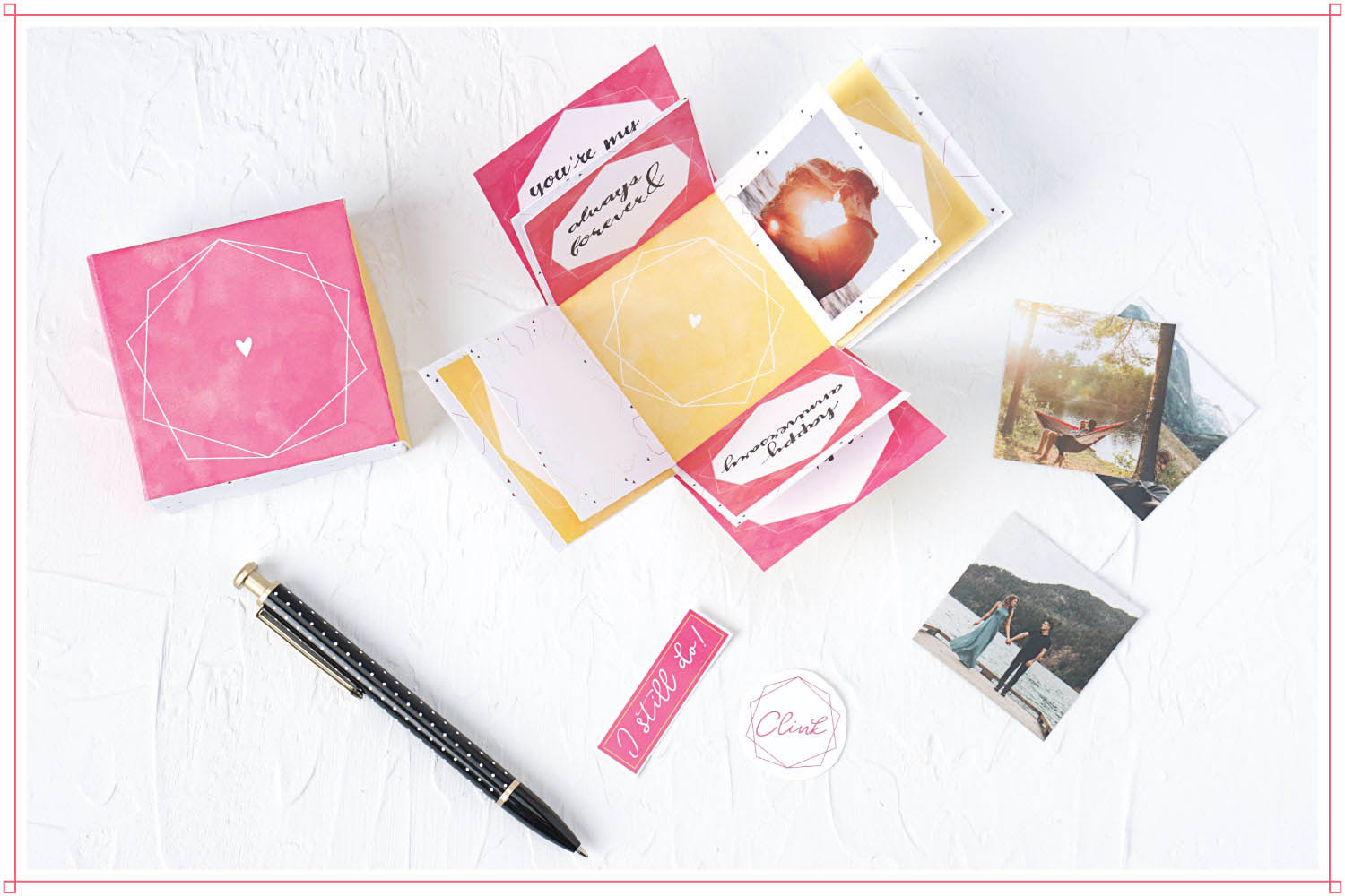 Pen, photos, and paper embellishments cut from the free 3d explosion box printable card