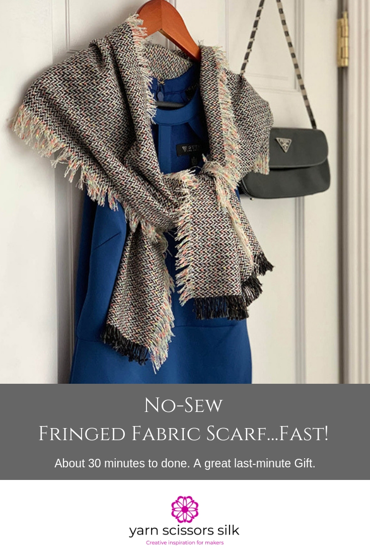 No-Sew Fringed Fabric Scarf How To on Yarn Scissors Silk with step by step photos and video.