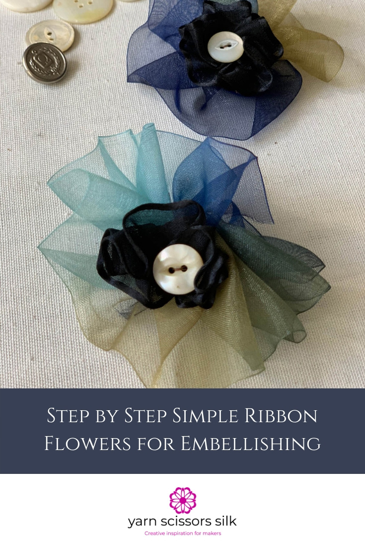Step by Step Simple Ribbon Flowers for Embellishing how to at Yarn Scissors Silk