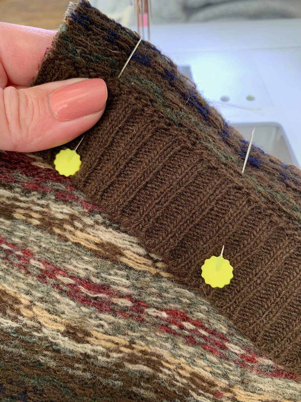 pinning sweater cuff ribbing to top of stocking