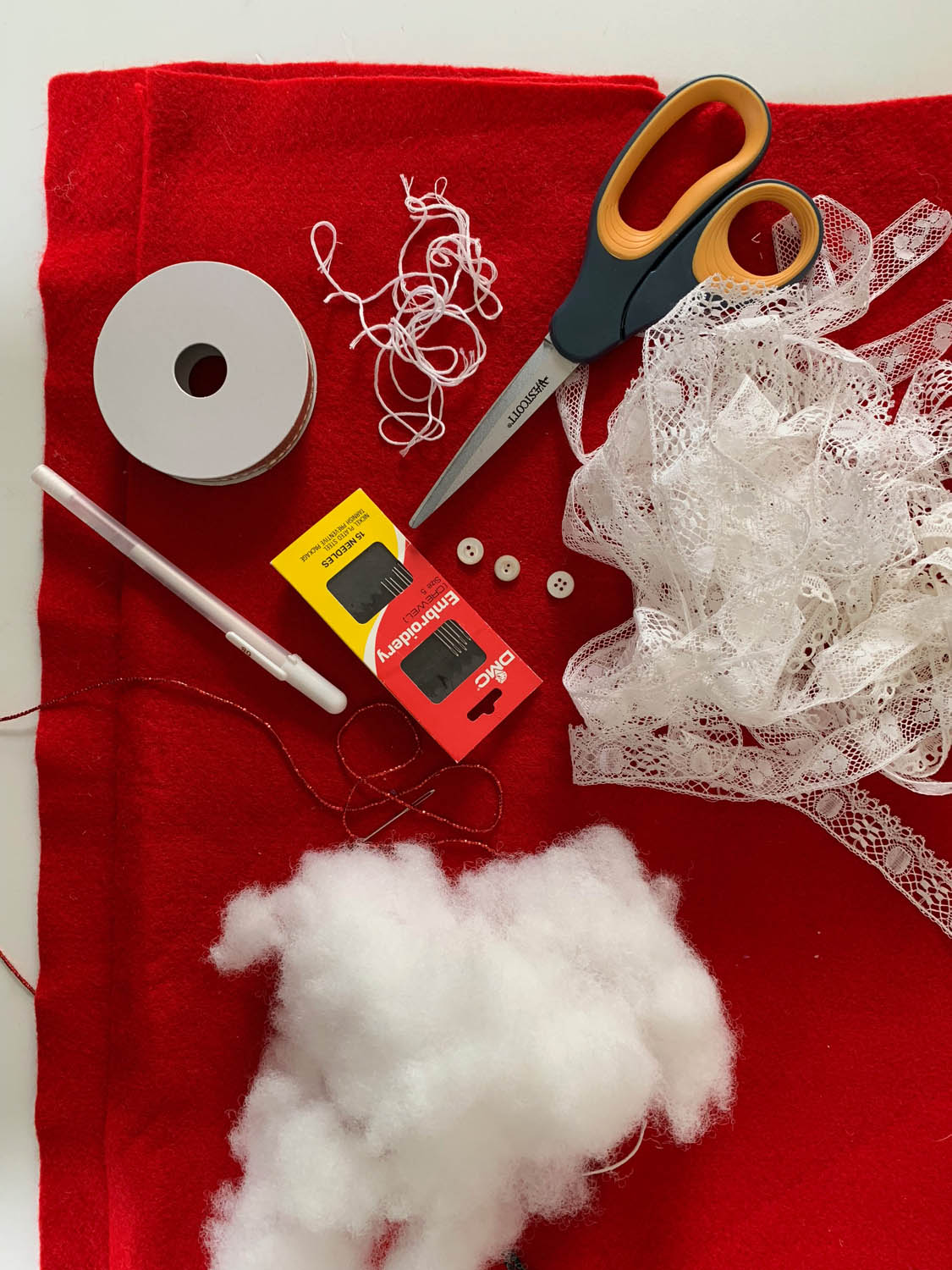 ribbon reel needles embroidery floss ribbon trims and scissors