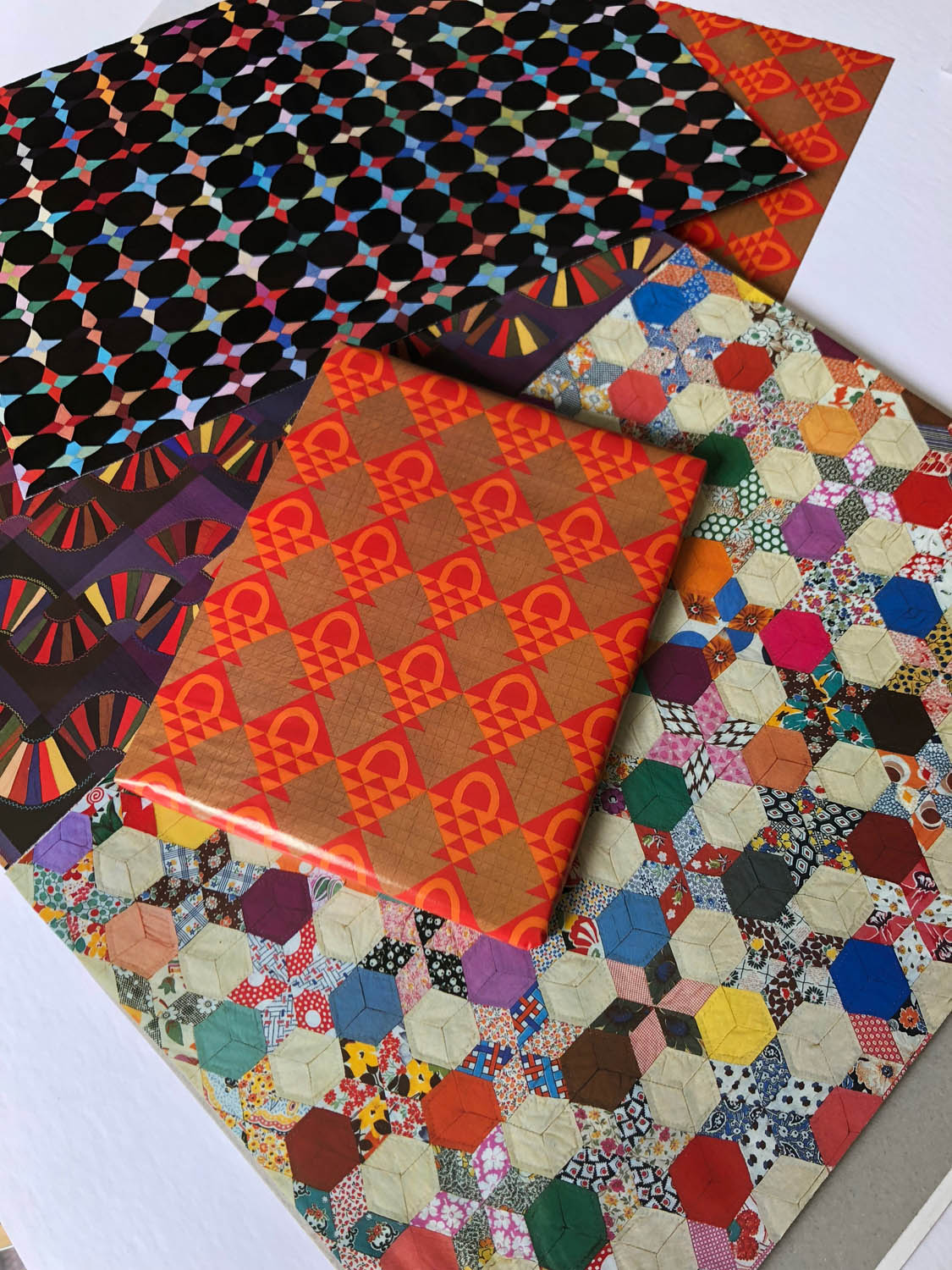 assorted gift wrappings with quilt pattern designs