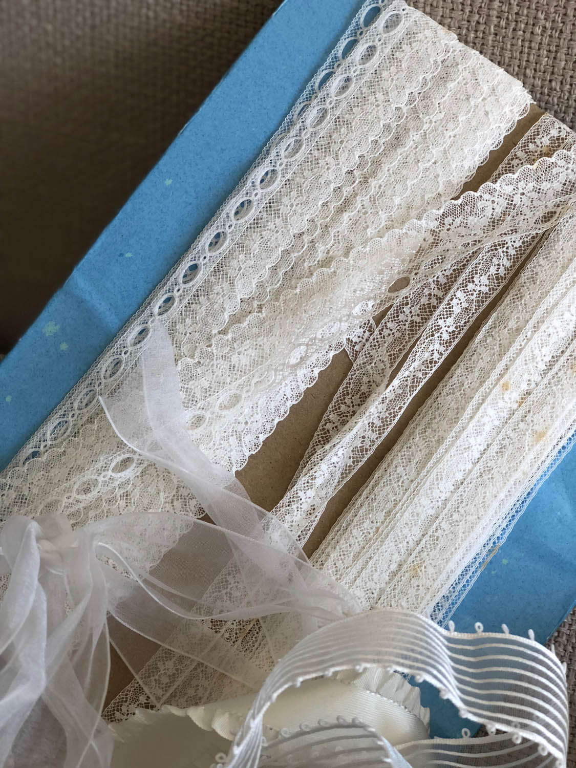 lace trim used to wrap and embellish gifts