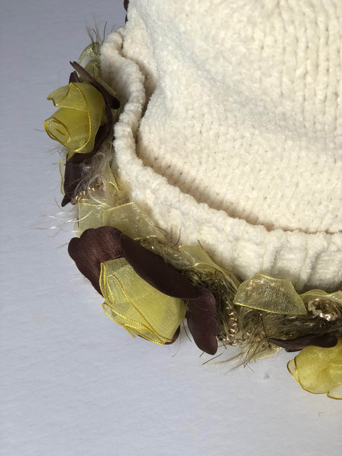 close up of yellow ribbon flower trim on a ladies winter hat