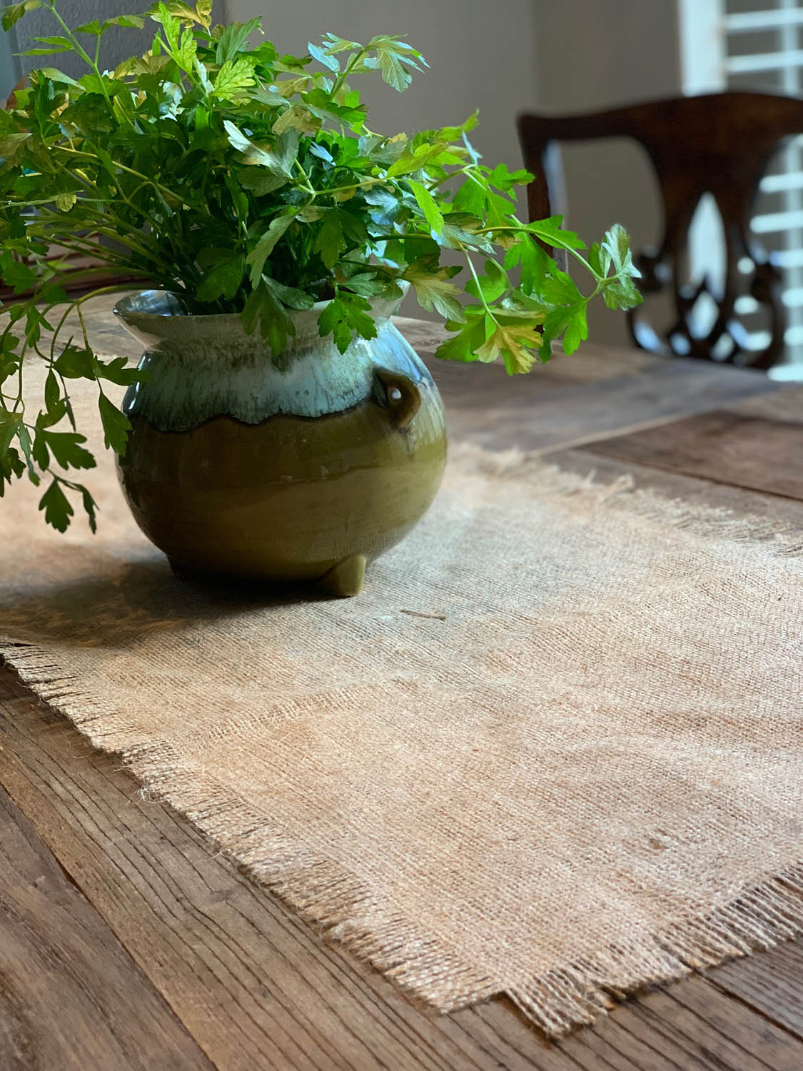 plant on fringed burlap table runner on rustic farmhouse table